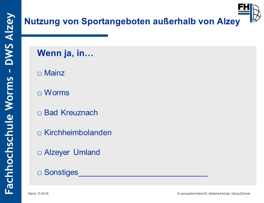 Nutzung von Sportangeboten außerhalb von Alzey