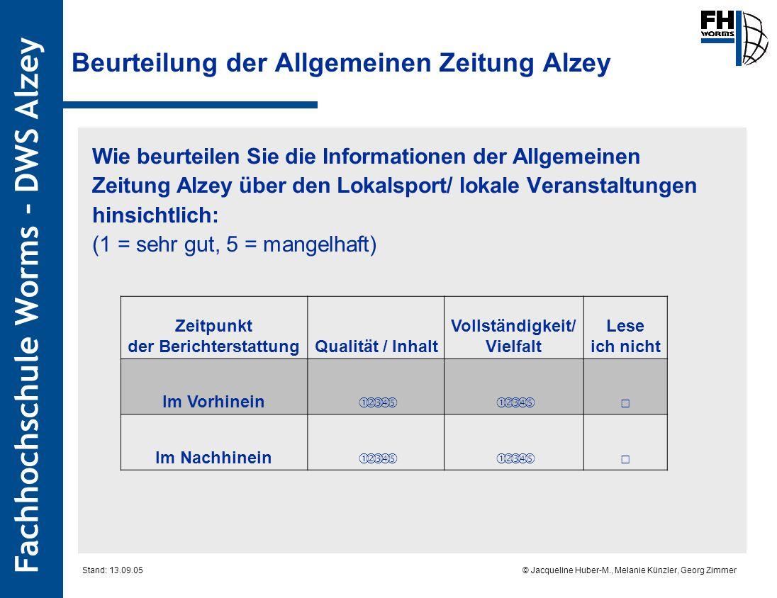 Beurteilung der Allgemeinen Zeitung Alzey