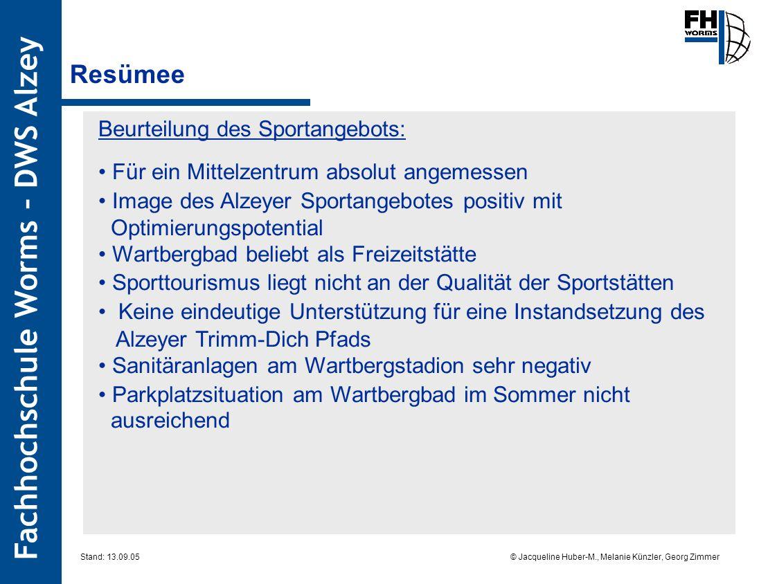 Resümee Beurteilung des Sportangebots: