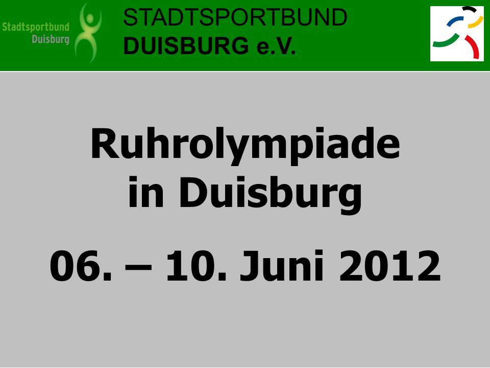 Ruhrolympiade in Duisburg