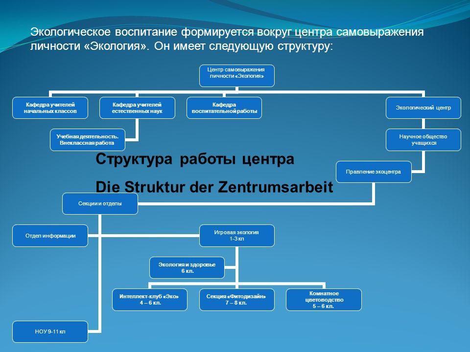 Структура работы центра Die Struktur der Zentrumsarbeit