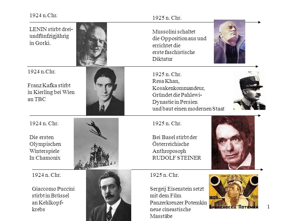 1924 n.Chr. LENIN stirbt drei- undfünfzigjährig. in Gorki. 1925 n. Chr. Mussolini schaltet. die Opposition aus und.