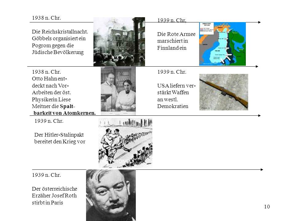 1938 n. Chr. Die Reichskristallnacht. Göbbels organisiert ein. Pogrom gegen die. Jüdische Bevölkerung.