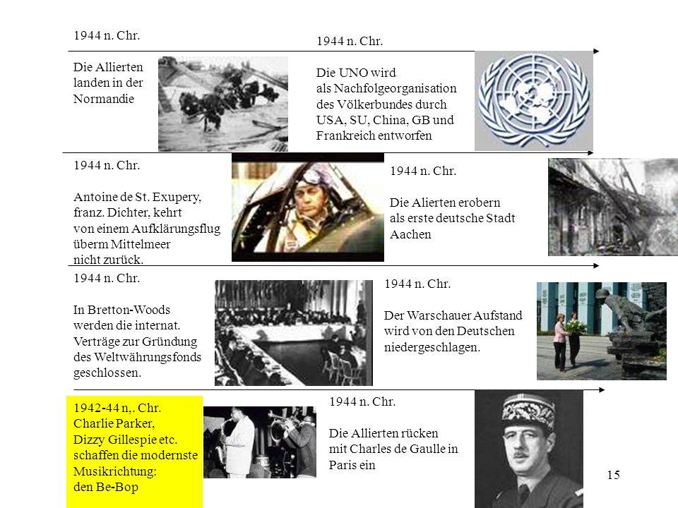 1944 n. Chr. Die Allierten. landen in der. Normandie. 1944 n. Chr. Die UNO wird. als Nachfolgeorganisation.
