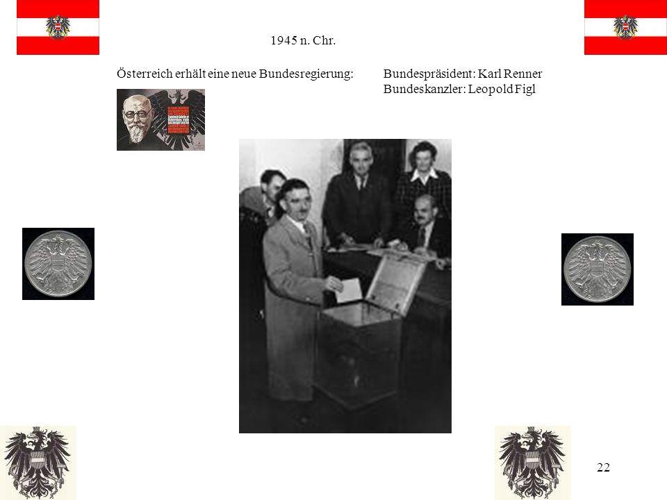 1945 n. Chr. Österreich erhält eine neue Bundesregierung: Bundespräsident: Karl Renner.