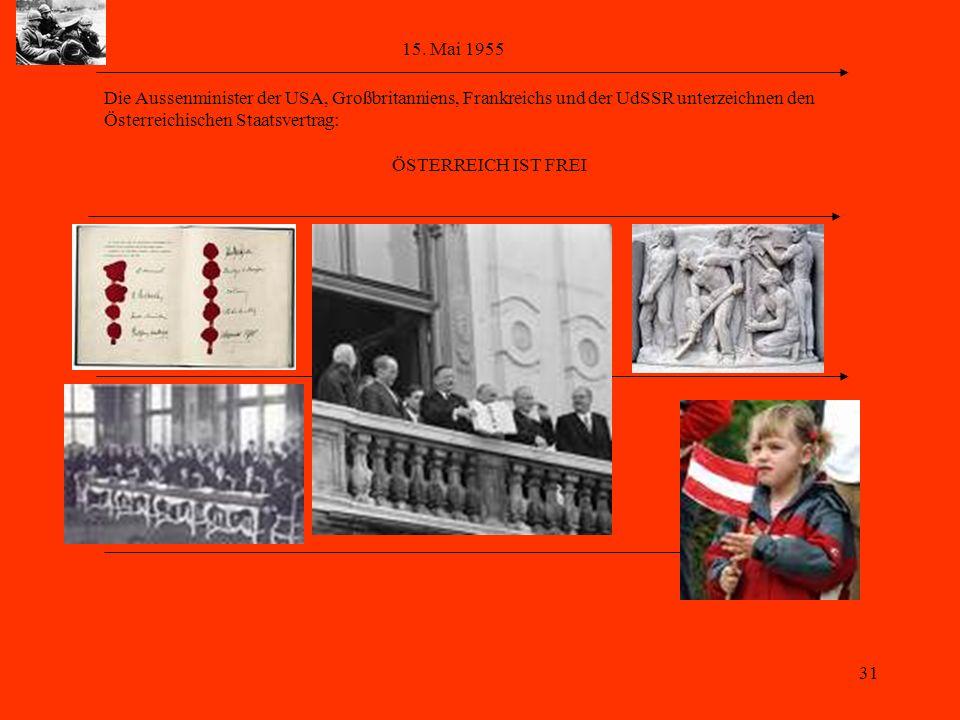 15. Mai 1955 Die Aussenminister der USA, Großbritanniens, Frankreichs und der UdSSR unterzeichnen den.