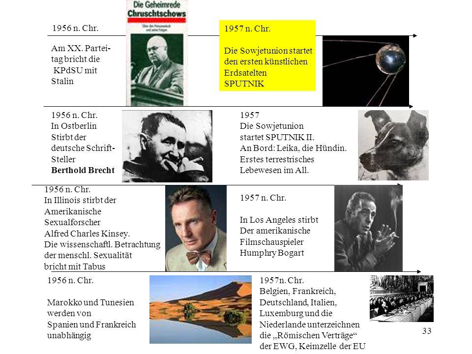 1956 n. Chr. 1957 n. Chr. Die Sowjetunion startet. den ersten künstlichen. Erdsatelten. SPUTNIK.