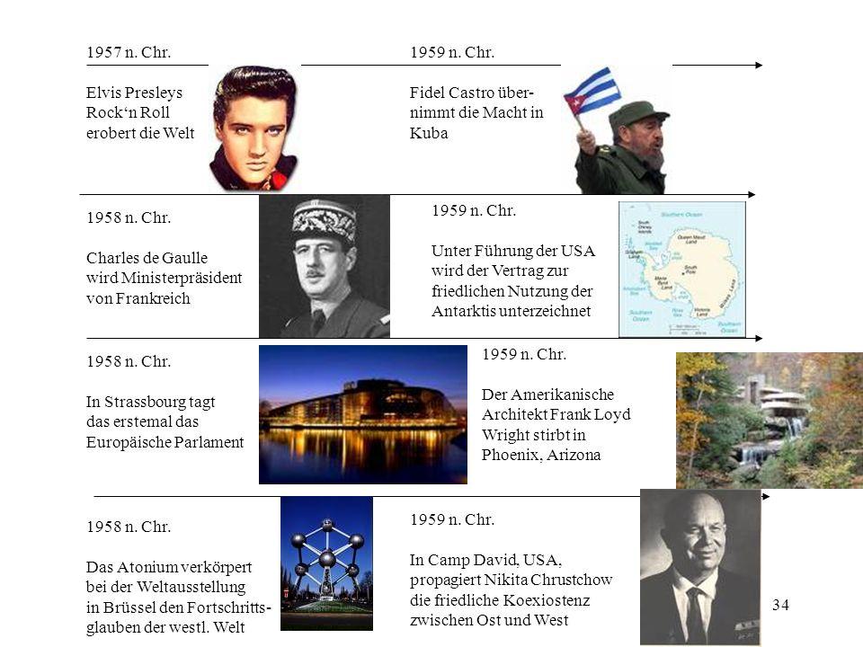 1957 n. Chr. Elvis Presleys. Rock'n Roll. erobert die Welt. 1959 n. Chr. Fidel Castro über- nimmt die Macht in.