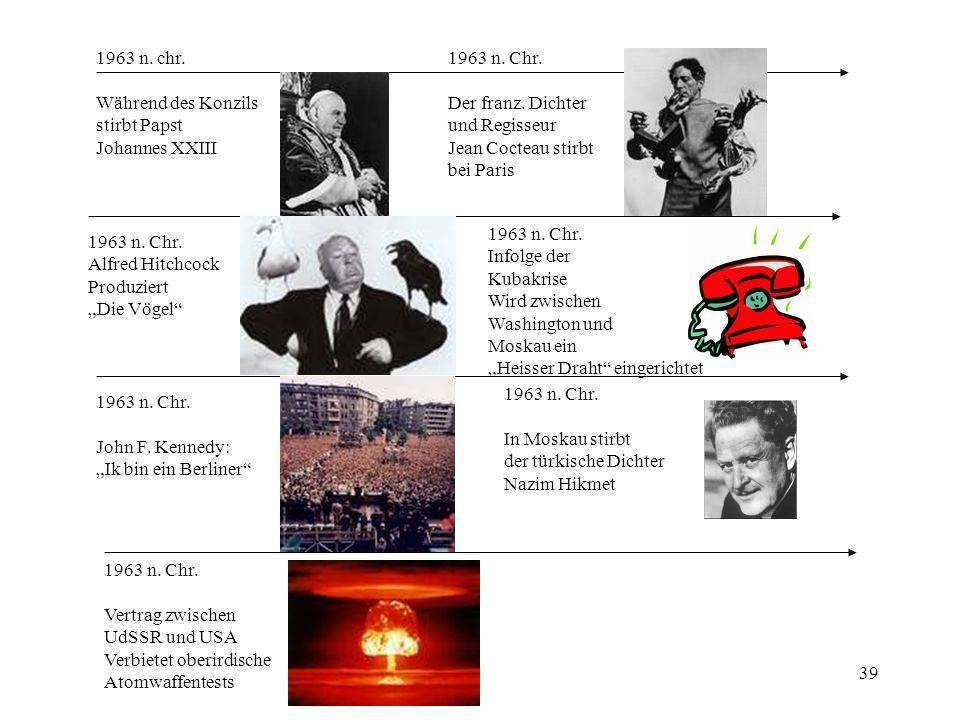 1963 n. chr. Während des Konzils. stirbt Papst. Johannes XXIII. 1963 n. Chr. Der franz. Dichter.
