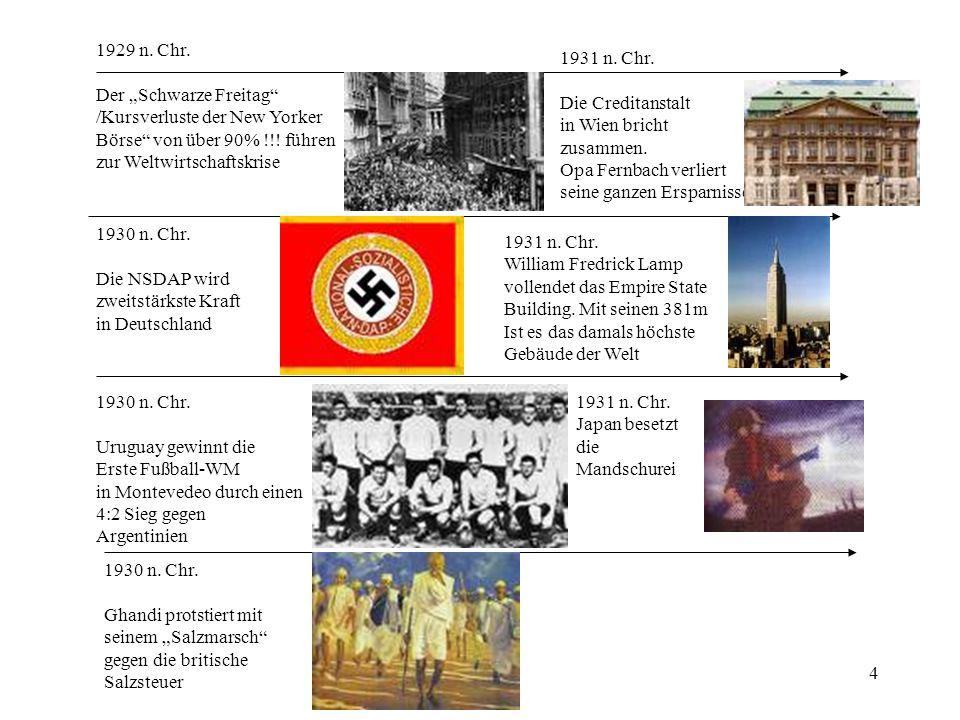 """1929 n. Chr. Der """"Schwarze Freitag /Kursverluste der New Yorker. Börse von über 90% !!! führen."""