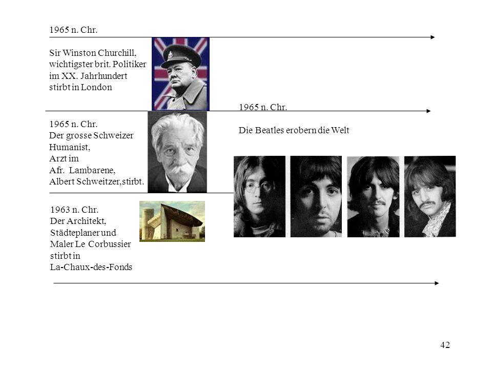 1965 n. Chr. Sir Winston Churchill, wichtigster brit. Politiker. im XX. Jahrhundert. stirbt in London.