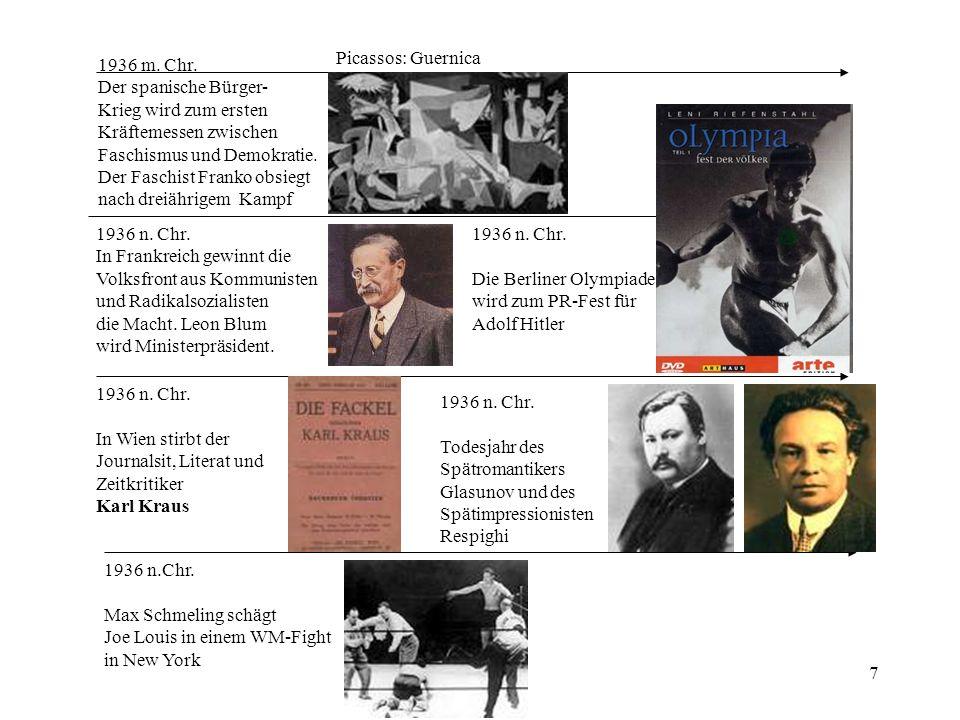 Picassos: Guernica 1936 m. Chr. Der spanische Bürger- Krieg wird zum ersten. Kräftemessen zwischen.