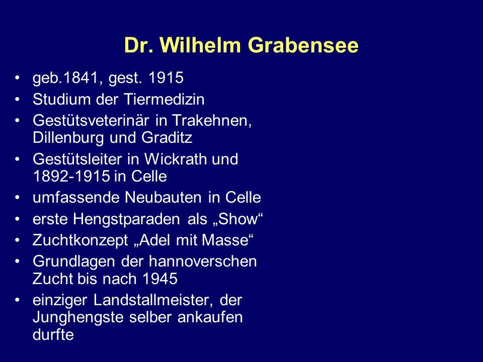Dr. Wilhelm Grabensee geb.1841, gest. 1915 Studium der Tiermedizin