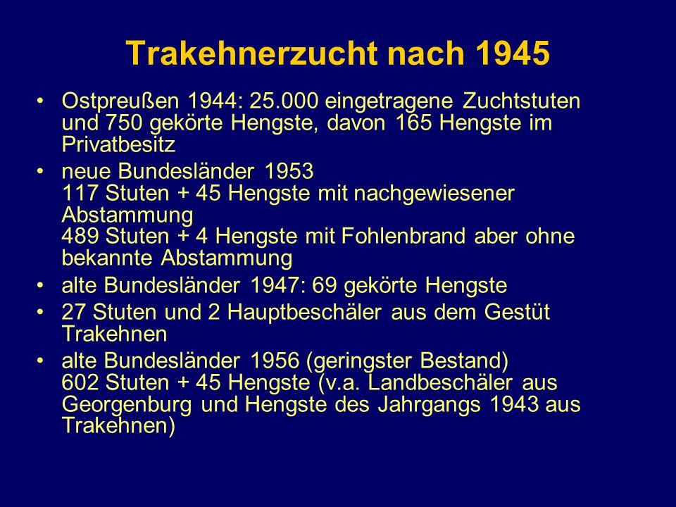 Trakehnerzucht nach 1945 Ostpreußen 1944: 25.000 eingetragene Zuchtstuten und 750 gekörte Hengste, davon 165 Hengste im Privatbesitz.