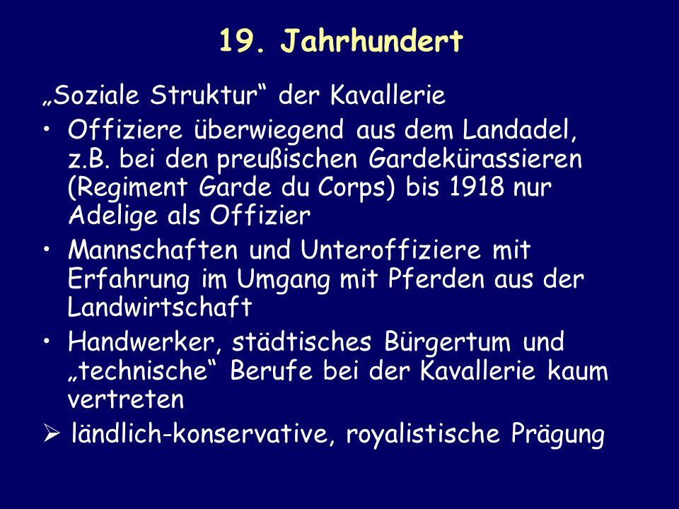 """19. Jahrhundert """"Soziale Struktur der Kavallerie"""