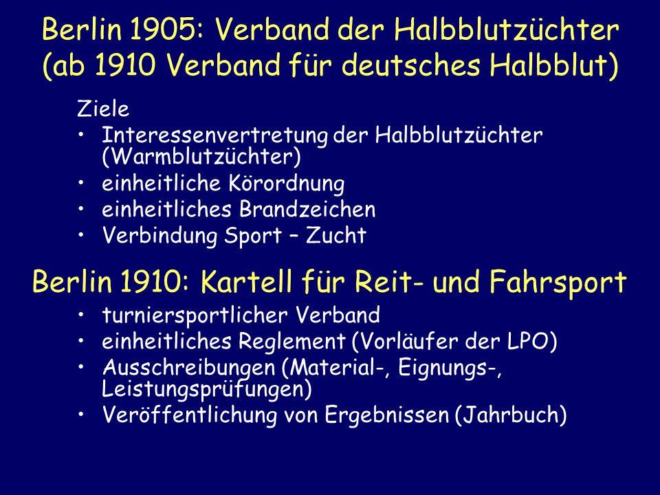 Berlin 1910: Kartell für Reit- und Fahrsport