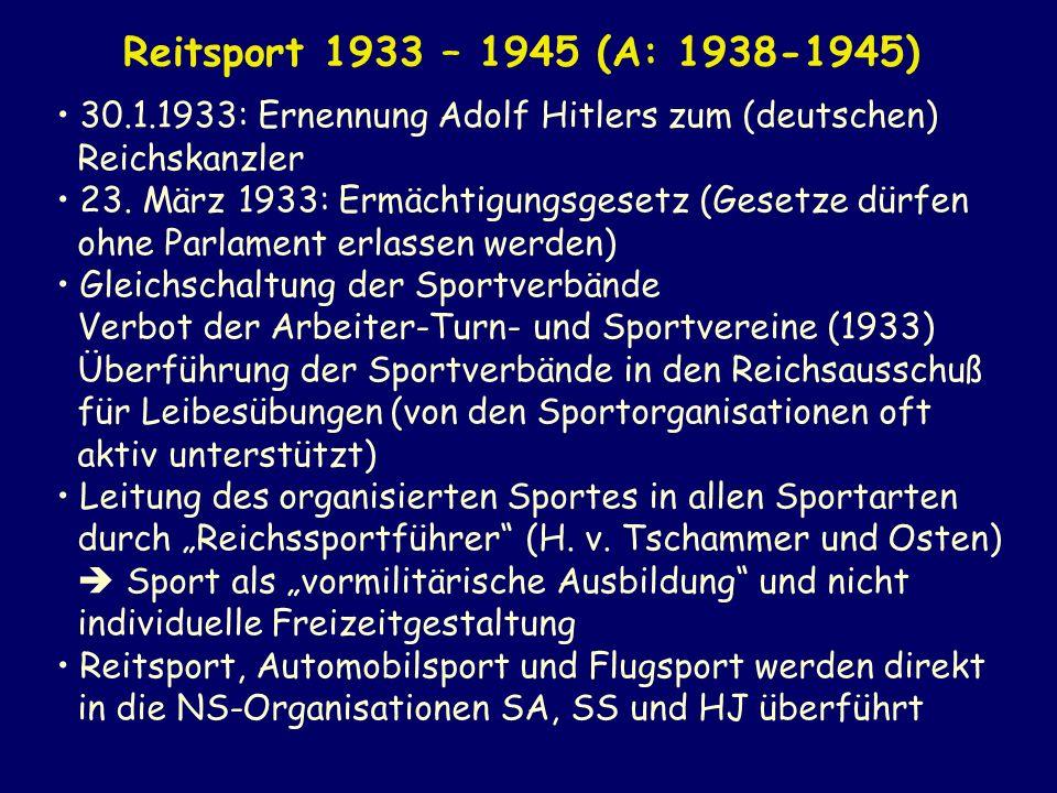 Reitsport 1933 – 1945 (A: 1938-1945) 30.1.1933: Ernennung Adolf Hitlers zum (deutschen) Reichskanzler.