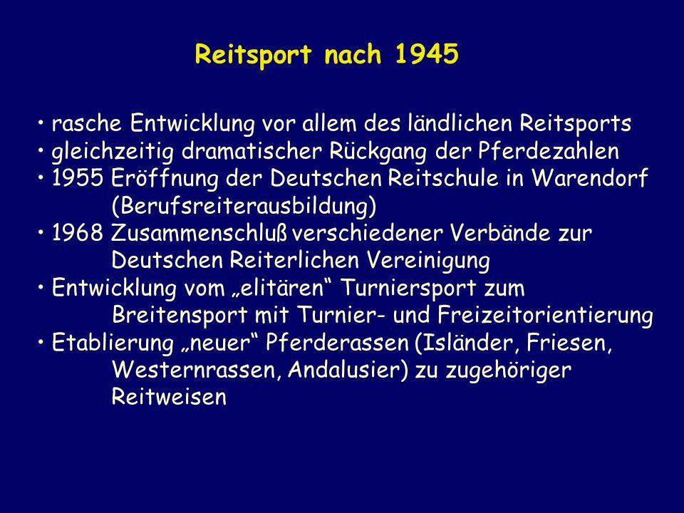 Reitsport nach 1945 rasche Entwicklung vor allem des ländlichen Reitsports. gleichzeitig dramatischer Rückgang der Pferdezahlen.