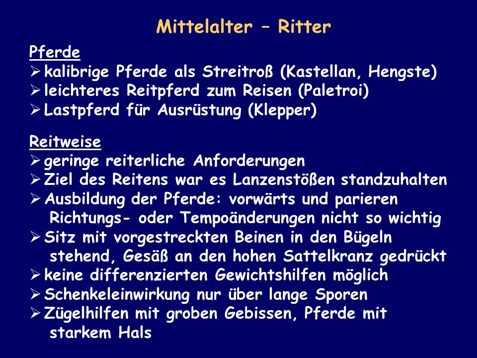 Mittelalter – Ritter Pferde