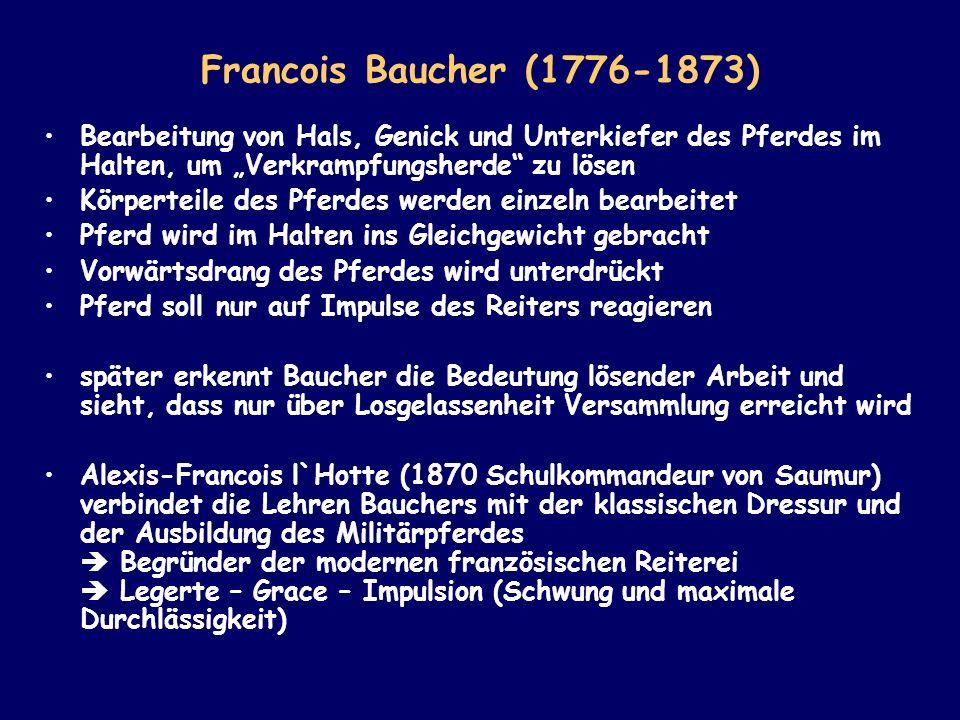 """Francois Baucher (1776-1873) Bearbeitung von Hals, Genick und Unterkiefer des Pferdes im Halten, um """"Verkrampfungsherde zu lösen."""