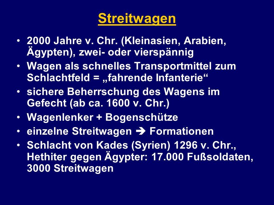 Streitwagen 2000 Jahre v. Chr. (Kleinasien, Arabien, Ägypten), zwei- oder vierspännig.