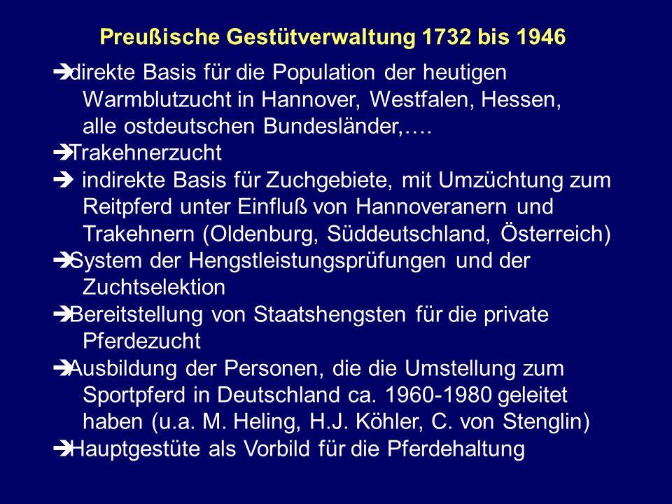 Preußische Gestütverwaltung 1732 bis 1946