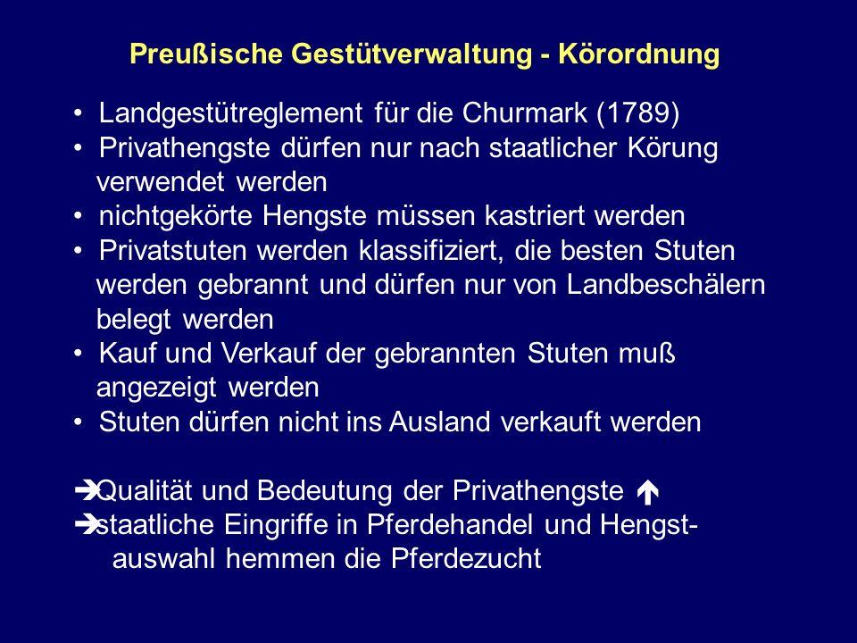 Preußische Gestütverwaltung - Körordnung