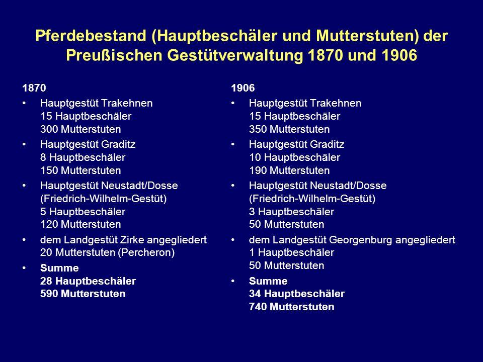 Pferdebestand (Hauptbeschäler und Mutterstuten) der Preußischen Gestütverwaltung 1870 und 1906