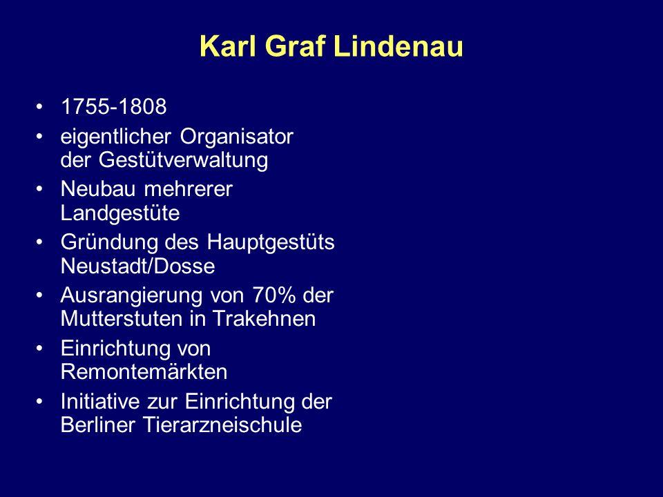 Karl Graf Lindenau 1755-1808. eigentlicher Organisator der Gestütverwaltung. Neubau mehrerer Landgestüte.