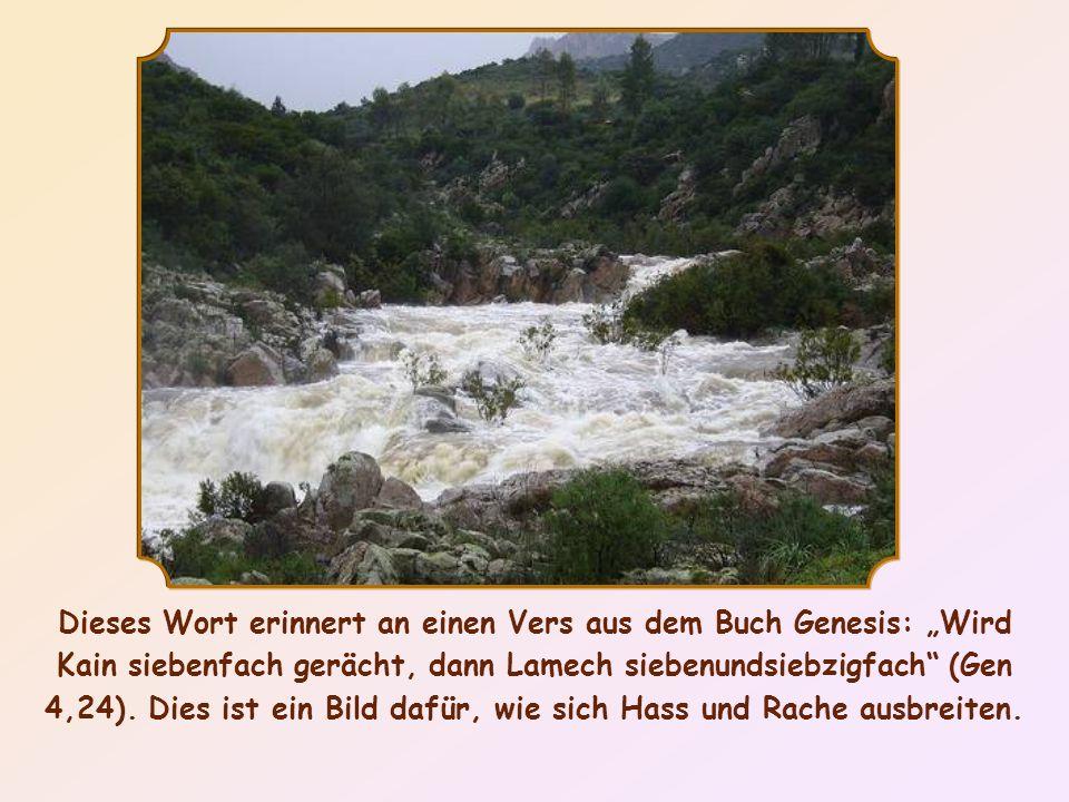 """Dieses Wort erinnert an einen Vers aus dem Buch Genesis: """"Wird Kain siebenfach gerächt, dann Lamech siebenundsiebzigfach (Gen 4,24)."""