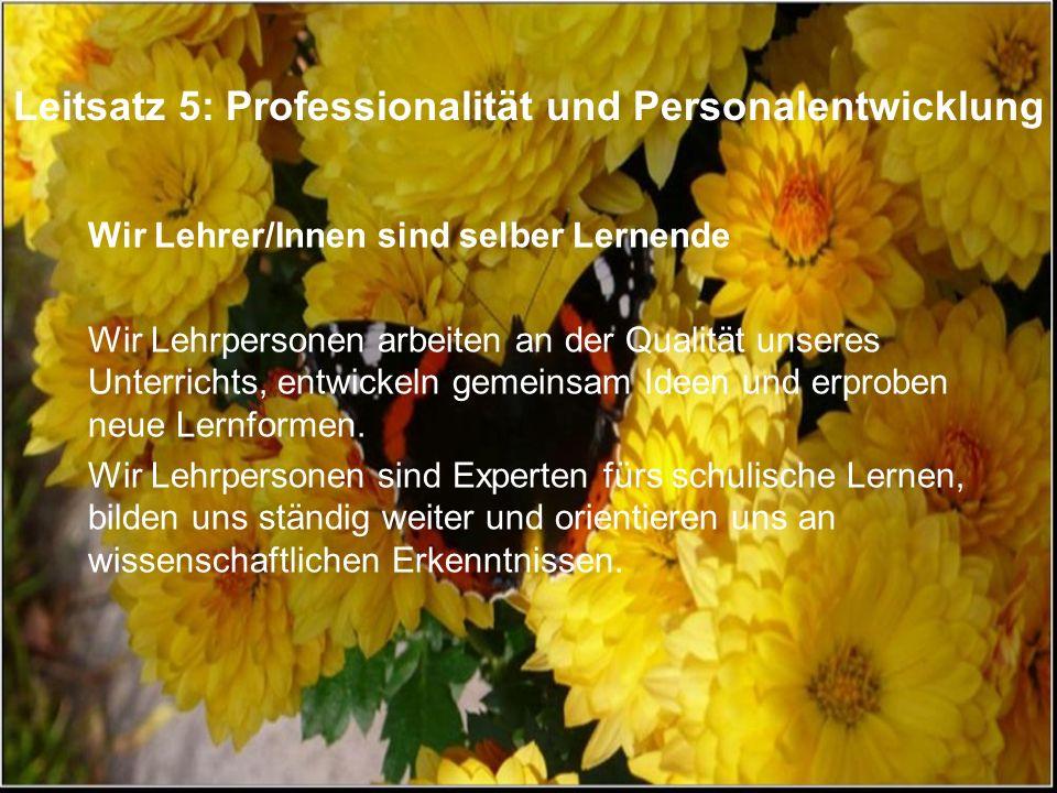 Leitsatz 5: Professionalität und Personalentwicklung