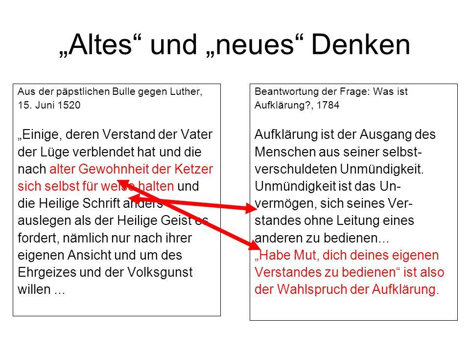 """""""Altes und """"neues Denken"""