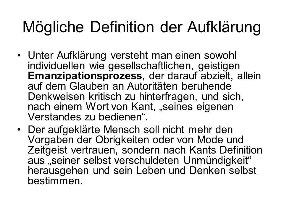 Mögliche Definition der Aufklärung