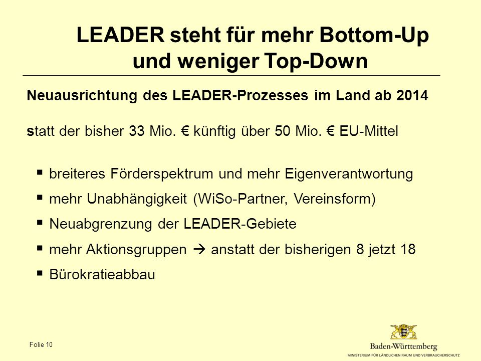 LEADER steht für mehr Bottom-Up und weniger Top-Down
