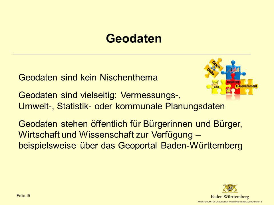 Geodaten Geodaten sind kein Nischenthema
