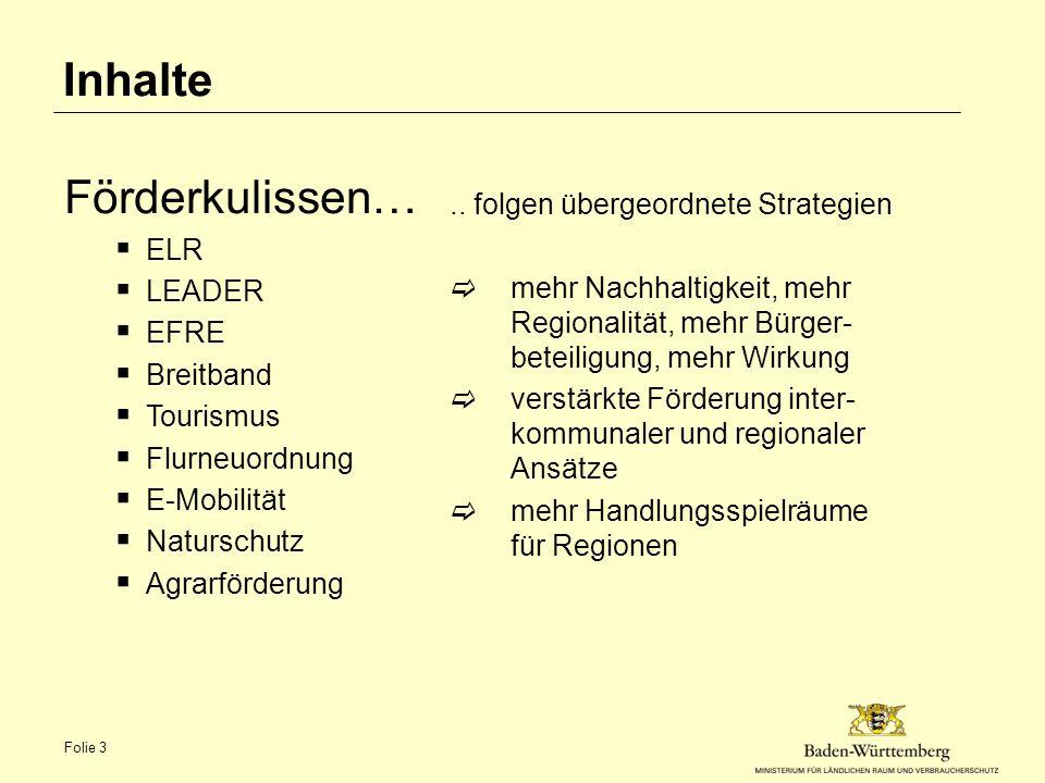 Inhalte Förderkulissen… ELR .. folgen übergeordnete Strategien LEADER