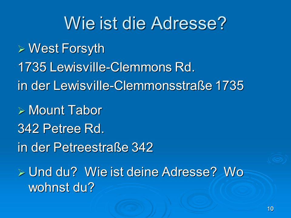 Wie ist die Adresse West Forsyth 1735 Lewisville-Clemmons Rd.
