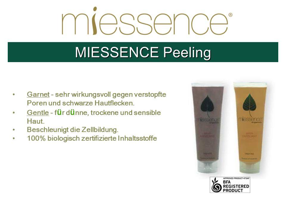 MIESSENCE Peeling Garnet - sehr wirkungsvoll gegen verstopfte Poren und schwarze Hautflecken. Gentle - für dünne, trockene und sensible Haut.