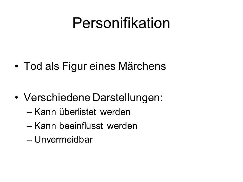 Personifikation Tod als Figur eines Märchens