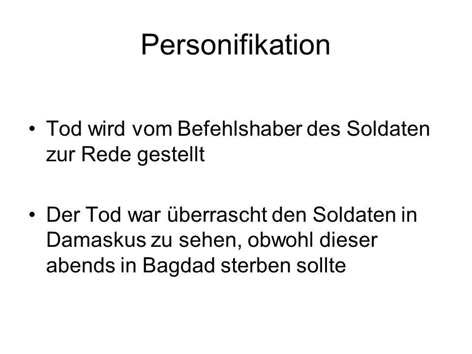 Personifikation Tod wird vom Befehlshaber des Soldaten zur Rede gestellt.