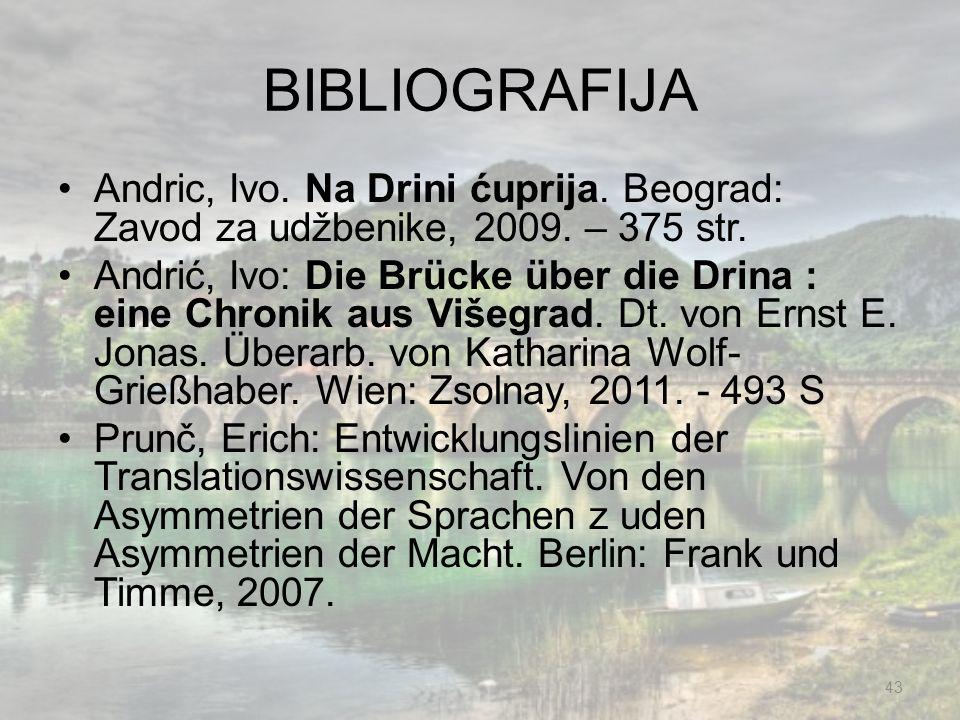 BIBLIOGRAFIJA Andric, Ivo. Na Drini ćuprija. Beograd: Zavod za udžbenike, 2009. – 375 str.