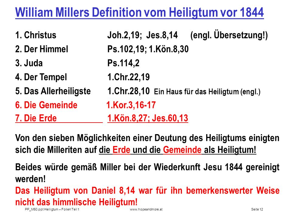 William Millers Definition vom Heiligtum vor 1844