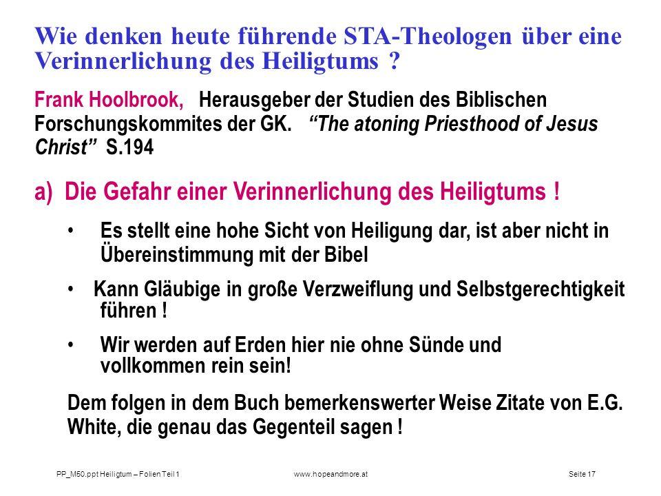 a) Die Gefahr einer Verinnerlichung des Heiligtums !