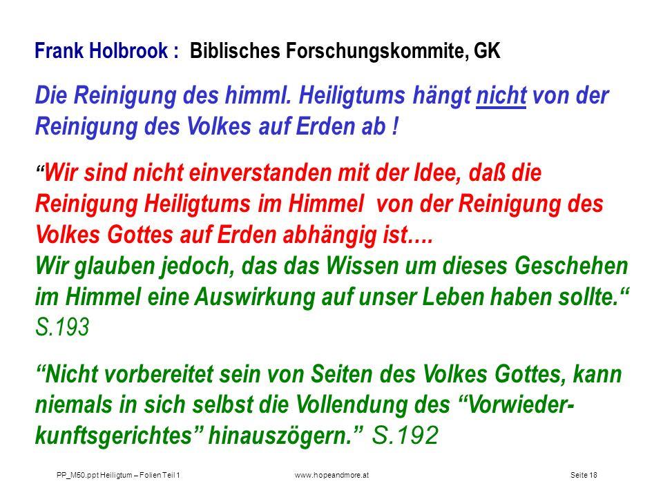 Frank Holbrook : Biblisches Forschungskommite, GK