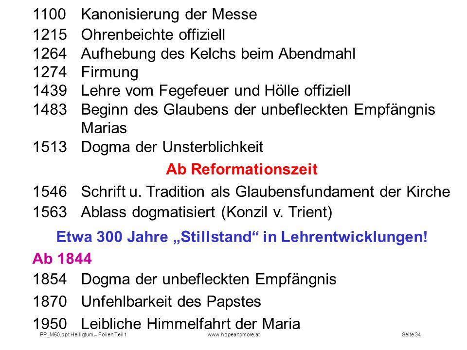 """Etwa 300 Jahre """"Stillstand in Lehrentwicklungen!"""