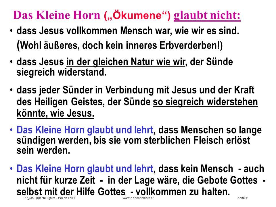 """Das Kleine Horn (""""Ökumene ) glaubt nicht:"""
