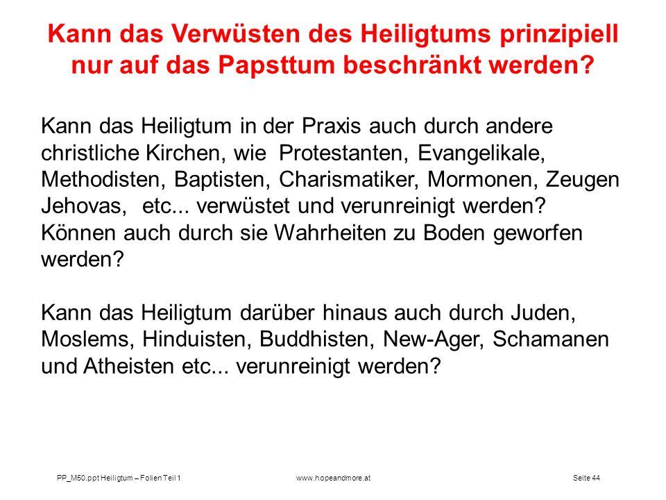 Kann das Verwüsten des Heiligtums prinzipiell nur auf das Papsttum beschränkt werden