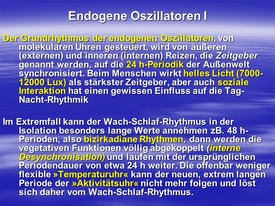 Endogene Oszillatoren I