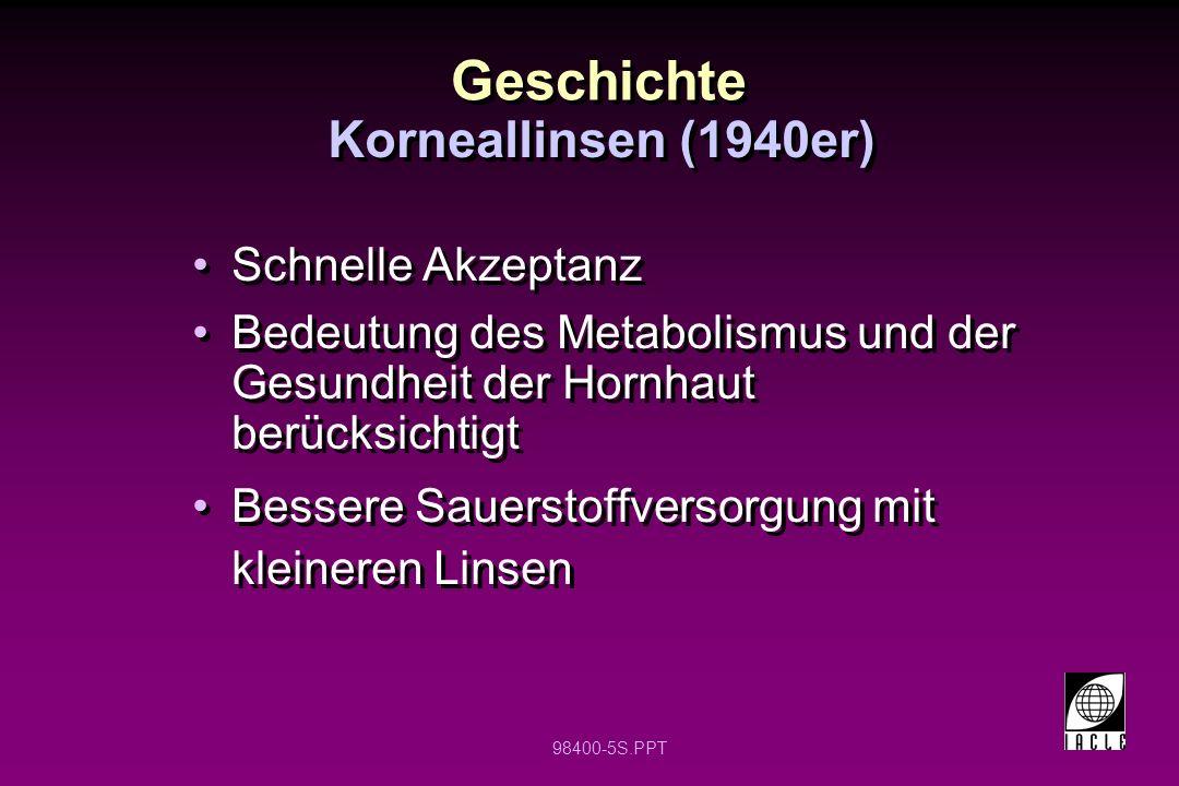 Geschichte Korneallinsen (1940er) Schnelle Akzeptanz