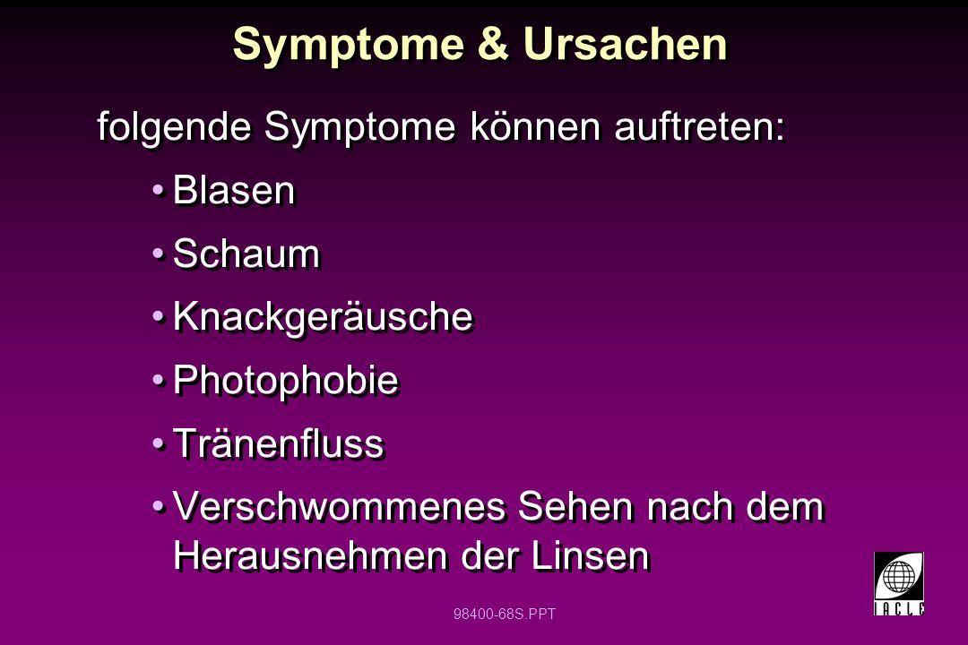 Symptome & Ursachen folgende Symptome können auftreten: Blasen Schaum